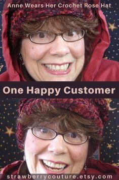 One Happy Customer Anne Wears Her New Crochet Rose Hat | crochet hats | crochet hats for women | Strawberrycouture Etsy Shop Womens Fashion Crochet Hats Knit Hats Scarves Accessories Pattern Design | Crochet Hats | Crochet Cloche Hat | etsy hats | etsy hats women | etsy hats women vintage style | Crochet Hats and Knit Hats Etsy Shop | Strawberrycouture Hats | etsy hats | #strawberrycouture