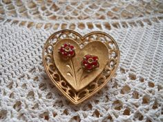 JJ Heart Brooch with Flowers  Vintage Collectible by DEWshophere, $5.99
