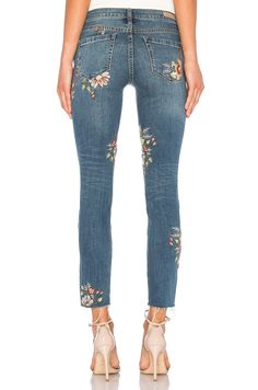 BLANKNYC Embroidered Skinny Jean in Green Thumb | REVOLVE
