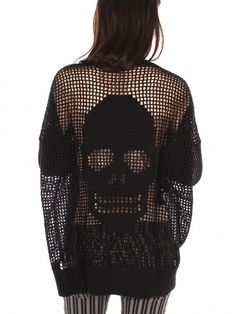 Black Hand Crochet Skull Sweater