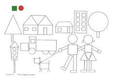 Para formar dibujos con las figuras geométricas (de la web) Shapes Worksheets, Kids Math Worksheets, Preschool Programs, Preschool Learning Activities, Art Drawings For Kids, Drawing For Kids, Geometric Shapes Drawing, Shape Coloring Pages, Drawing School