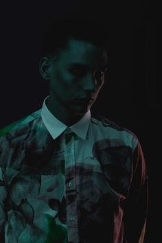 The electronic-pop artist Thomas Azier wearing the RASMUSSEN ROSE PRINTED SHIRT from Soulland