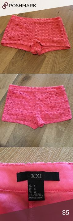 Forever 21 lace shorts Forever 21 lace shorts. Waist is 15.5 inches and length is 9.5 inches. Worn but still good condition. Forever 21 Shorts