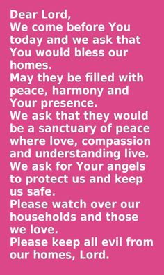 A prayer over your home.