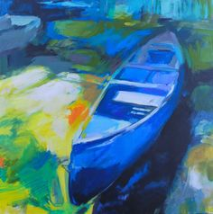 Can You Canoe 2, acrylic painting by Becky Holuk | Effusion Art Gallery + Glass Studio, Invermere BC River Painting, Boat Painting, Modern Art, Contemporary Art, Mountain Paintings, Canadian Artists, Canoe, Impressionism, Landscape Paintings