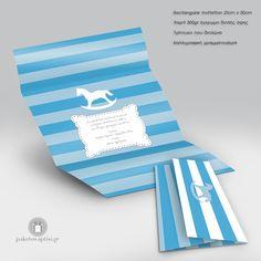 Προσκλητήριο Βάπτισης Ριγέ Αλογάκι Carousel #prosklitiria Thessaloniki, Christening, Invitations, Save The Date Invitations, Invitation