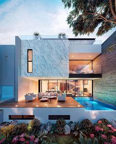 Casa Boreta designed by Rab Arquitectura in Merida, Yucatan, Mexico . Best Modern House Design, Dream Home Design, Modern Villa Design, Modern Architecture House, Interior Architecture, Sustainable Architecture, Luxury Homes Dream Houses, Dream House Exterior, House Exteriors