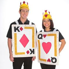 Look like royalty this Halloween with these Queen of Hearts and King of Diamonds costumes! Turn felt into All Hallows' Eve fashion Easy Couples Costumes, Cute Couple Halloween Costumes, Purim Costumes, Creative Costumes, Homemade Costumes, Homemade Halloween, Halloween Kostüm, Halloween Clothes, Halloween Couples