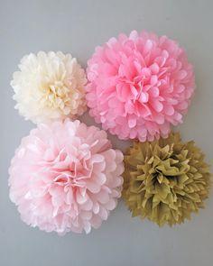 Pink & Gold Pom Poms