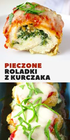 Baked chicken rolls with spinach and ricotta Sweet Cooking Sweet Cooking, Baked Chicken, Salmon Burgers, Ricotta, Mozzarella, Spinach, Main Dishes, Food And Drink, Rolls