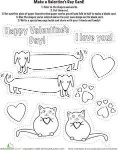 Cute :) Worksheets: Make a Valentine