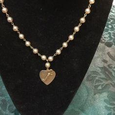 Vintage heart and key charm on pearls Vintage heart and key charm sweet pearly Jewelry Necklaces