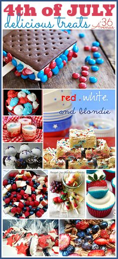 4th of July Patriotic Treats... What a delicious way to celebrate Independence Day! the36thavenue.com #4thofJuly Patriotic Party, 4th Of July Party, July 4th, Fourth Of July Food, 4th Of July Celebration, Patriotic Desserts, Patriotic Crafts, Easy Desserts, Blue Desserts