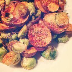 Ovenschotel met spruitjes en zoete aardappel