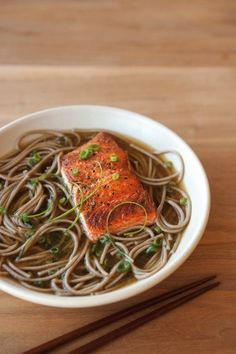 Soba Noodles and Seared Salmon in Ginger-Green Onion Broth recipe
