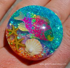 Aqua Sea Life Holographic Fish Opalescent Resin by GlitterFusion