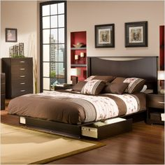 Here is Platform Bed with Drawers Plans Design IdeasPhoto Collections at Bedroom Furniture Catalogue. More Picture Platform Bed with Drawers can you found at her Platform Bed Sets, Platform Bed With Drawers, Bed Frame With Drawers, Queen Size Platform Bed, Platform Bedroom, Bedroom Furniture Sets, Bed Furniture, Bedroom Ideas, Bed Ideas