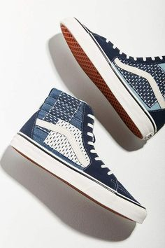 62c1a9e3c2c Vans Shoes Sneakers. See more. Vans Sk8-Hi Patchwork Denim Sneaker. I  really like the color and design of