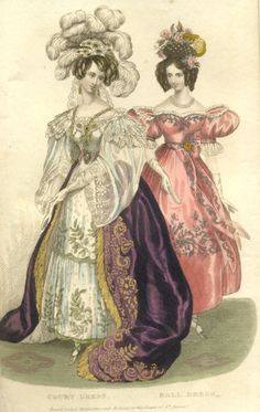 Court and ball dress, late 1820's or early 1830's, Royal Lady's Magazine