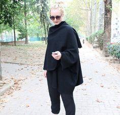 wool cape, wrapped poncho, black elegant cardigan, woman wool coat