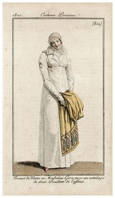 Yellow shawl with boteh design, 1807 Costume parisien