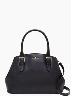 """$228.00 * soft cowhide with matching trim * elbow hold bag with snap closure * 14-karat light gold plated hardware * interior zip and double slide pockets * custom woven book stripe print twill lining * kate spade new york gold printed signature * drop length: 6"""" handheld, 13"""" removeable strap * imported"""