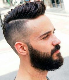 Comb-over with a side part hipster haircut