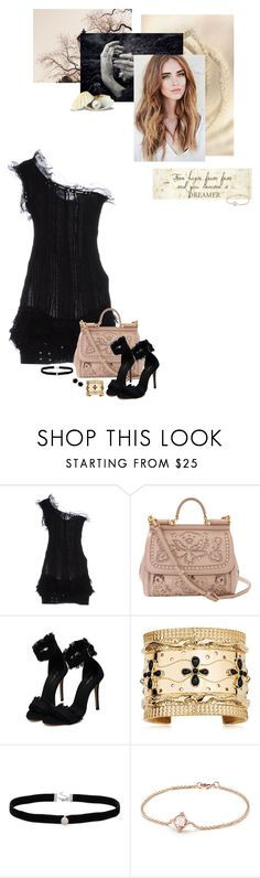 """let's go out tonight"" by summersdream ❤ liked on Polyvore featuring Isabel Marant, Dolce&Gabbana, Aurélie Bidermann, Amanda Rose Collection, David Yurman, Heels, dress, jewelry, choker and oneshoulder"