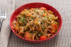 Late Summer Pork Bolognese with Whole Grain Linguine & Cherry Tomatoes Blue Apron
