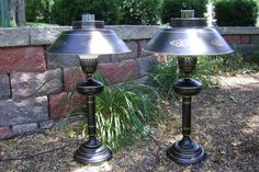 Pair Black Tole Painted Metal Candlestick Lamps with Shades