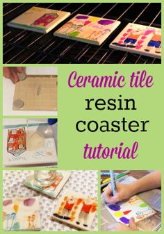 Resin Obsession blog:  Finish ceramic tile art with a layer of resin to make a keepsake coaster