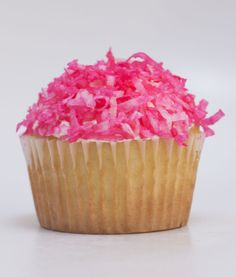 Pink coconut cupcakes