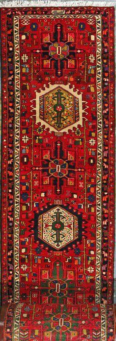 "Gharajeh Persian Rug 2' 9"" x 47' 7"", Authentic Gharajeh Handmade Rug"