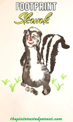 Footprint Skunk Craft - Footprint Animal Crafts from A - Z S is for skunk