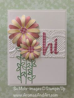 "Daisy Lane Friendship Card # Punched daisies with detailed centers, and ""hi"" from Hand-Lettered Prose Die Set. Homemade Greeting Cards, Making Greeting Cards, Greeting Cards Handmade, Homemade Cards, Paper Cards, Diy Cards, Friendship Cards, Embossed Cards, Stamping Up Cards"