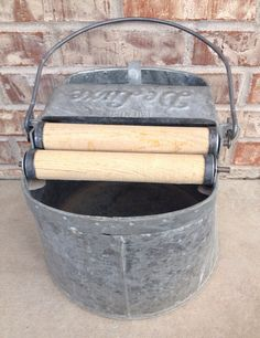 Vintage / Antique Deluxe Mop Bucket / Pail - Wood Wringers on Etsy, $19.95