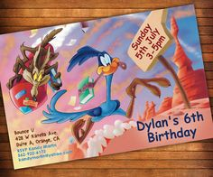 Road Runner Wile E. Coyote Invitation, RoadRunner, Looney Tunes Birthday Party Invitation, Looney Tunes Invitation, Looney Tunes Birthday Looney Tunes Party, Pizza Party, Animated Cartoons, Road Runner, Baby Birthday, Birthday Ideas, Invitation Cards, Invites, Birthday Party Invitations