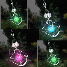 Colorful Solar Lights Idea For Outdoor Design Outdoor Hanging Lights, Outdoor Lighting, Lighting Ideas, Lawn Lights, Solar Lights, Solar Wind Chimes, Solar Garden Lanterns, Tree Support, Led