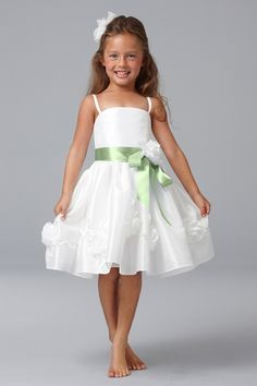 Seahorse Flower Girl Dress in Off White and Apple | Weddington Way