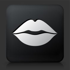 Black Square Button with Lips Icon vector art illustration