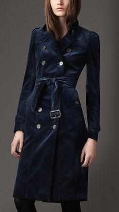 Burberry London Long Velvet Trench Coat