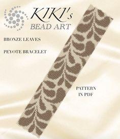 Pattern peyote bracelet  Bronze leaves peyote bracelet cuff