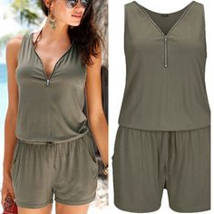 Plus Size Solid Color Loose V-neck Zipper Sleeveless Mid Waist Belt Pocket Piece Shorts Women Jumpsuits Rompers Playsuits Plus Size Romper, Plus Size Dresses, Plus Clothing, Playsuits, Jumpsuits For Women, Female Models, Rompers, V Neck, Plus Fashion
