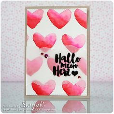 "Valentinskarte | Valentine's Day Card - danipeuss ""Hallo mein Herz"", Create A Smile Stamps ""Double Stitched Rectangles"", Mijello Mission Gold watercolors, Aquarellfarben"
