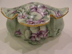 Sweet Green Purple RS Germany Prussia Porcelain China Dresser Box.