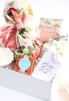 """BRIDE AND BRIDESMAIDS GIFTS-""""WILL YOU BE MY BRIDESMAID?"""" GIFT BASKET Marigold & Grey creates artisan gifts for all occasions. Wedding welcome gifts. Workshop swag. Client gifts. Corporate event gifts. Bridesmaid gifts. Groomsmen Gifts. Holiday Gifts. Order online or inquire about custom gift design. www.marigoldgrey.com Image: Red October Photography"""