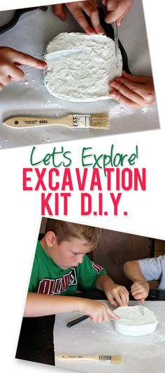 Excavation Kit DIY Make a mini excavation site for your child using simple supplies! Projects For Kids, Diy For Kids, Crafts For Kids, Kids Fun, Project Ideas, Diy Projects, Summer Activities, Craft Activities, Toddler Activities