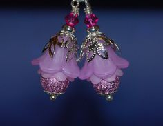 2 Vintage Style Pink Flower by RainandSnowBeading on Etsy