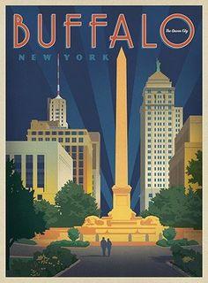 "New York Blackboard ""Buffalo"" by Joel Anderson Graphic Art on Wood Size: Buffalo New York, Tourism Poster, Vintage Art Prints, Vintage Theme, Vintage Travel Posters, Poster Vintage, Travel Aesthetic, Wyoming, Wood Art"