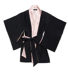 Lilian Kimono Robe (Black with Baby Pink)